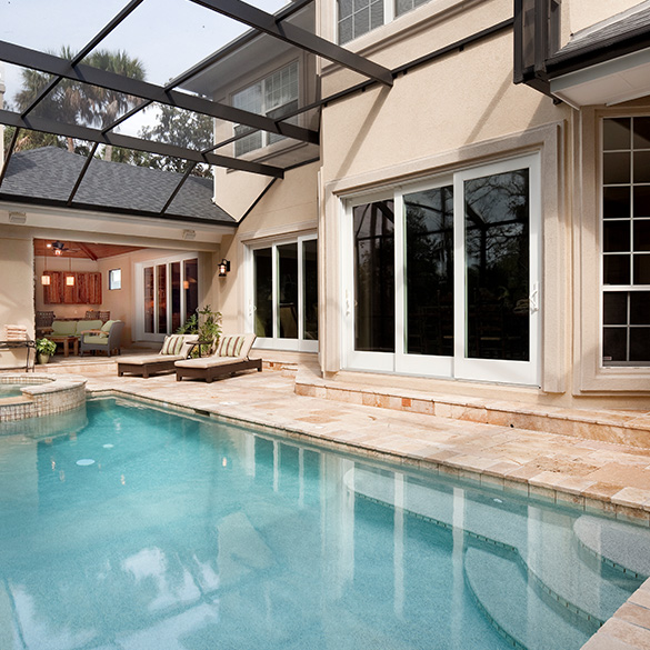This luxurious Ponte Vedra residence was built with PGT WinGuard aluminum single hung windows and sliding glass doors.