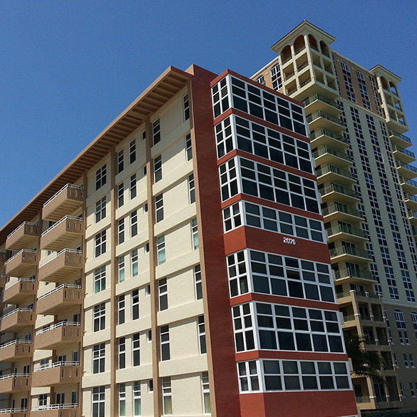 These Hallandale Beach condos were built with CGI Sentinel impact-resistant windows and doors and CGI Commercial windows.