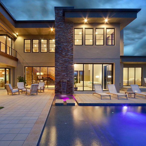 DSDG Architects designed/built this contemporary home with WinDoor sliding glass doors, fixed windows, and terrace doors.