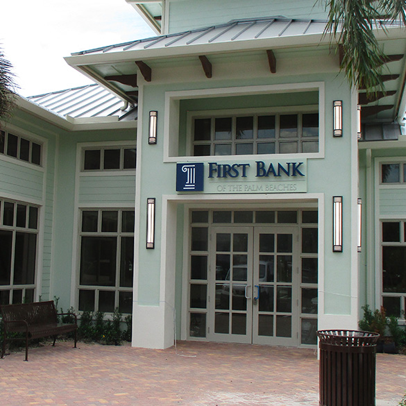 First Bank of the Palm Beaches was designed with CGI Commercial storefront window walls and storefront entry doors.
