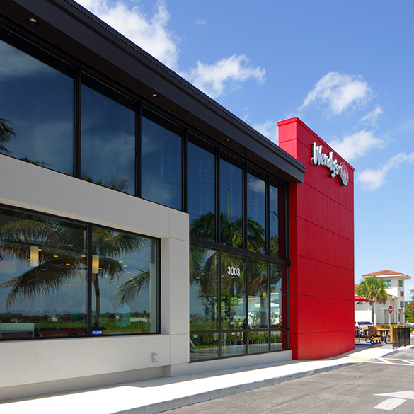 This Florida Wendy's Restaurant was designed with CGI Commercial storefront window walls and storefront entry doors.